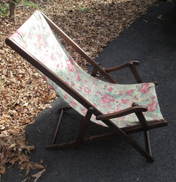 Fantastic Antique Beach Lounge Chair Rare 1920 30S Deck Lounger Solid Wood Frame Depression Era Beach Chair Floral Pattern Cloth Ocoug Best Dining Table And Chair Ideas Images Ocougorg