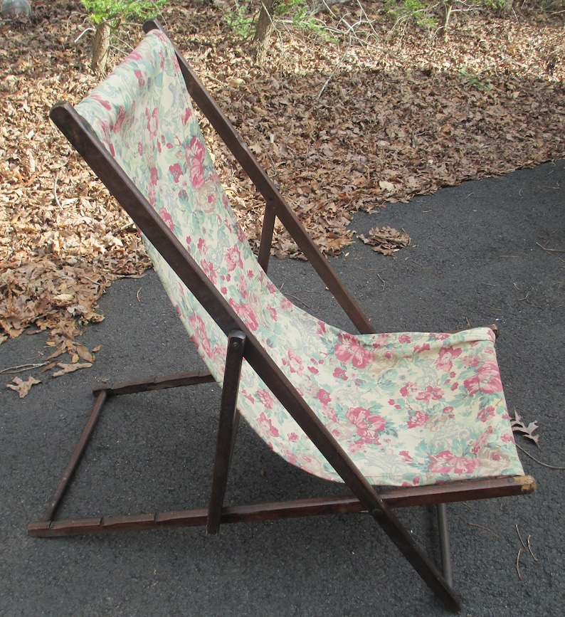 Strange Antique Beach Lounge Chair Rare 1920 30S Deck Lounger Solid Wood Frame Depression Era Beach Chair Floral Pattern Cloth Ocoug Best Dining Table And Chair Ideas Images Ocougorg
