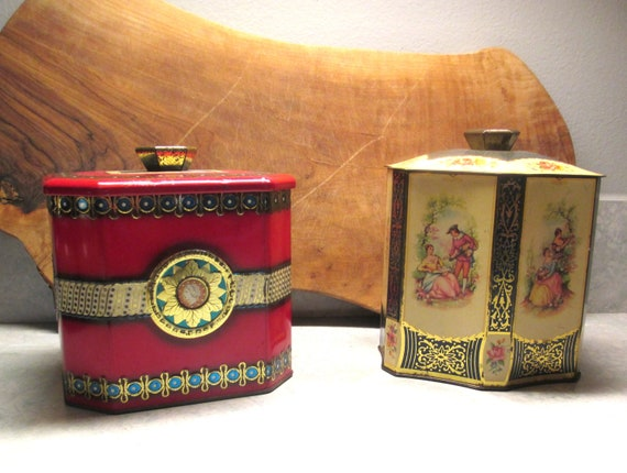 Vintage Decorative Tin Cans Storage Cans Deco Art Tin Cans Collectible Tin Cans English Tin Containers 1950 60 S Cans Victorian Can