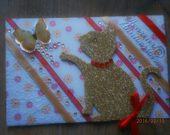 """Children's birthday card, """"the cat gold revisited"""", """"pititou"""" collection"""