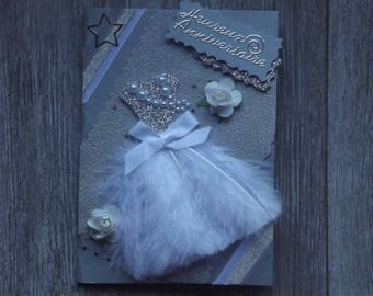 "Card ""dress with feathers"" Sybellia collection"