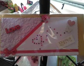 Thank you, in pink and white card