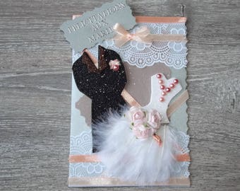 """""""Duo feathered"""" wedding congratulations card: apricot"""
