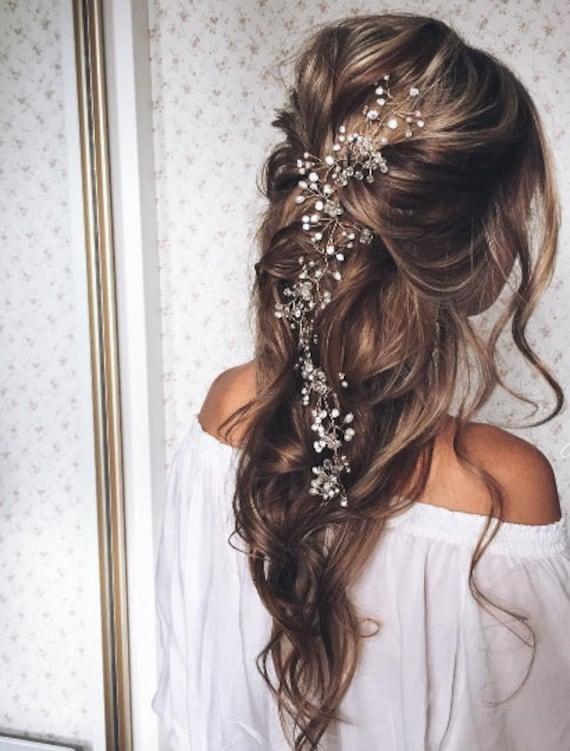 Bridal Hair Vine Bridal Crystal Wreath Long Hair Vine Hair Etsy