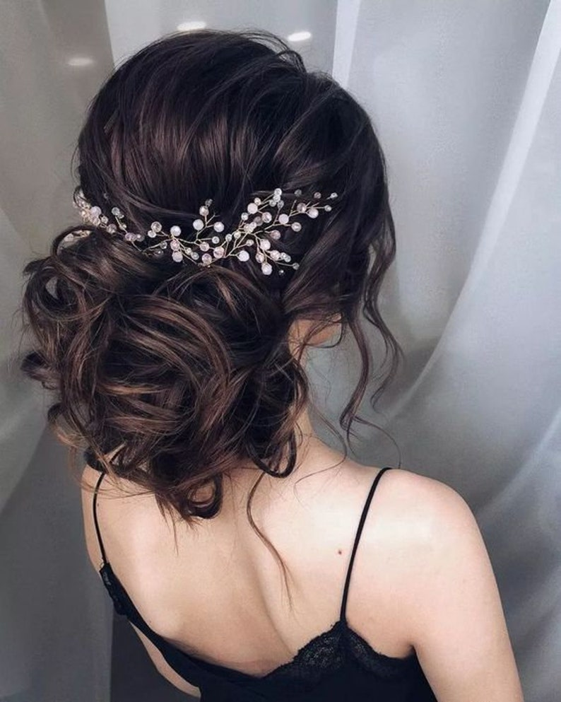 Bridal Hair Vine Extra Gold Silver Rose Gold Vine Long Hair Vine Wedding Hair Wreath Bridal Headpiece Wedding Veil Vine Blush Pink Jewelry