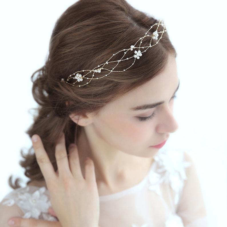Bridal Hair Vine Wedding Rose Gold Hair Piece Bridal Hair Piece Vine Jewelry Long Hair Vine Bridal Pearl Silver Bridal Tiara Golden vine