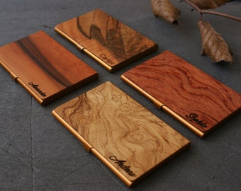 Exotic wood business card holder personalized wooden business card case stationery men holder custom corporate gift idea cardholder employee