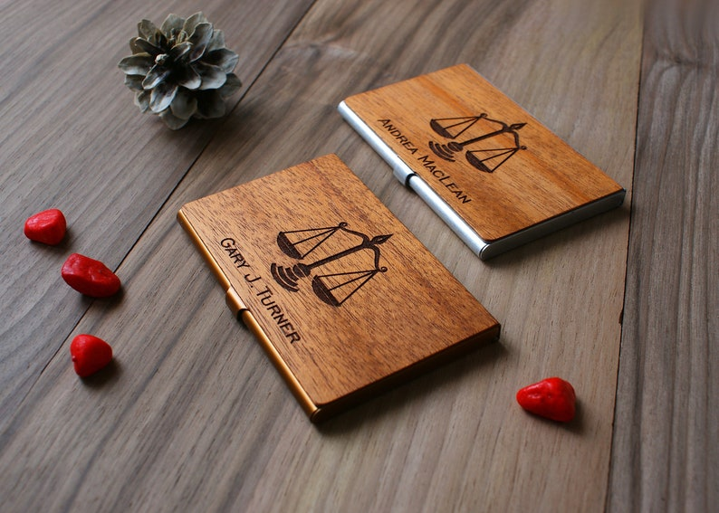 Judge gift Lawyer gift attorney wooden business card holder image 1