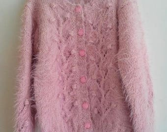 Girls Cardigan - knitted hands - 4t