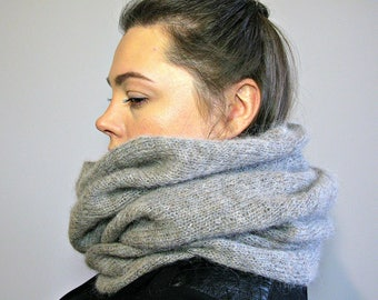 Women scarf gray Hooded cowl Knit snood Hooded scarves Knit mohair alpaca scarf Italian eco friendly yarn