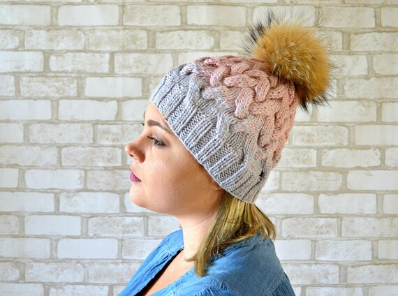 af50deb63fe Womens Cable knit hat with Fur pom pom Blush pink Gray hat
