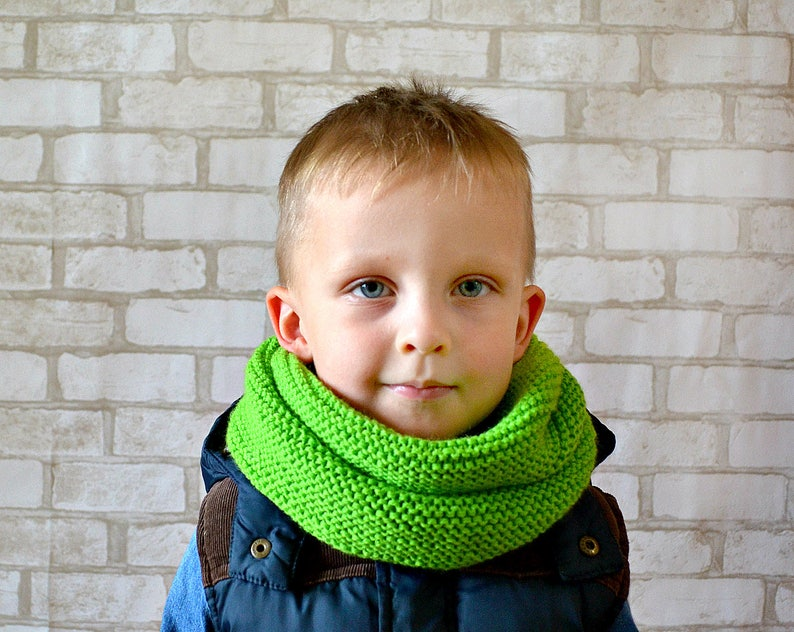 069ae6d5d5d Knit baby boy scarf Toddler cowl Green scarf for boy Chunky