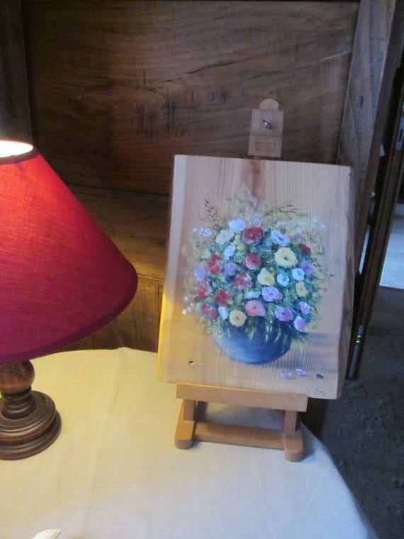 Fleurs En Bouquet Tableau Peinture Acrylique Sur Bois Fait Etsy