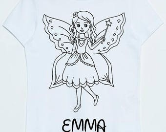 T-shirt fairy coloring page personalized with the name of child