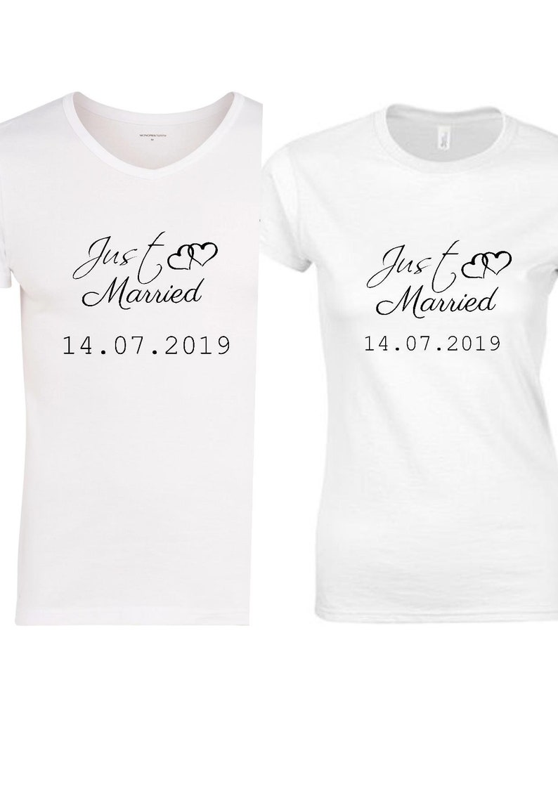 ce3324fc08 Couple t-shirts just married gift bachelorette party wedding   Etsy