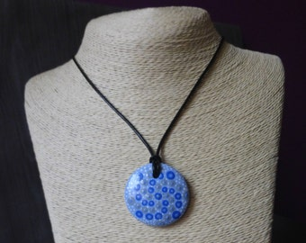 Painted women mandala Necklace - blue dot pendant painting - leather cord - clay pendant
