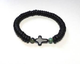 Mens onyx coconut bead cross bracelet