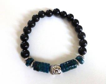 Buddha, azurite and onyx, natural stones bracelet