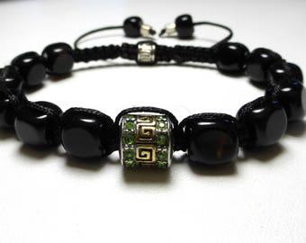 shamballa bracelet with silver bead and onyx natural stone bracelet