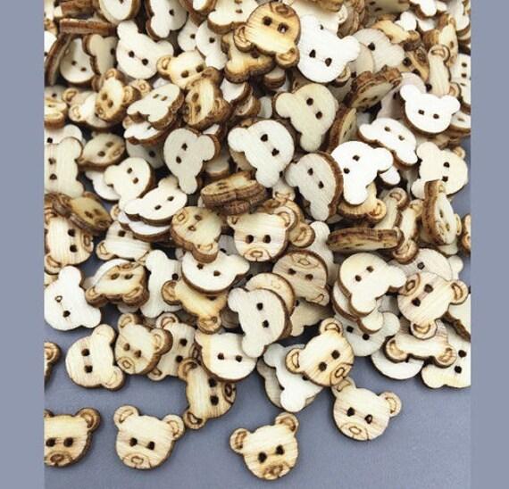 teddy bear buttons x 100 tiny wooden bear buttons
