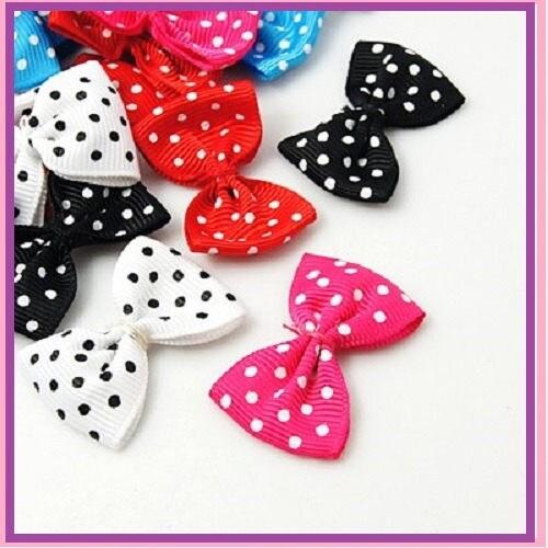 LOT 50 NOEUDS Couture papillon en ruban / TISSU 4 cm - Couture NOEUDS / scrapbooking Couleurs à motifs pois blanc parme noir rouge bleu ciel rose fuchsia 520170