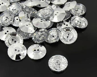 LOT 100 buttons round rhinestones faceted 12 mm - 2 sewing holes - transparent shiny silver color - ways creations decoration