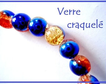 SET of 50 Blue Crackle glass beads and ORANGE 8 mm - gold