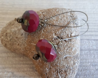 Handmade minimalist earrings, Pearl pumpkin Garnet Czech glass, wire, women gift earrings