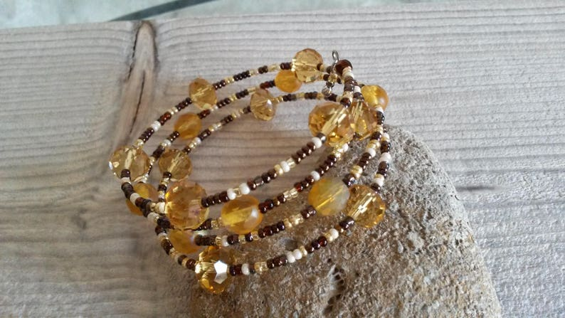 memory Wire Bracelet Handcrafted contemporary yellow and chocolate bracelet gift for her idea