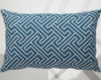 Geometric pattern blue and beige pillow cover