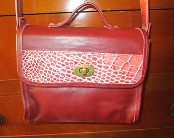 """""""anna"""" in Burgundy leather and croco bag pink"""