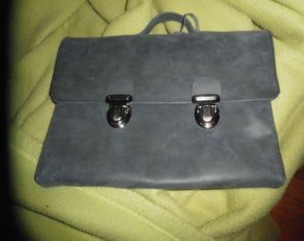 """Pocket for Tablet 10 """"grey suede leather"""