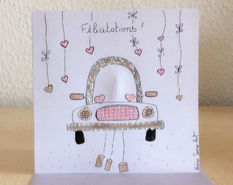 Wedding card - Congratulations - wedding card hand painted card