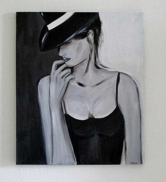 Tableau Et Femme Noir Etsy Blanc Chapeau Au Moderne PxrnTZqSP