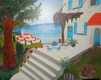 titled noon House oil painting