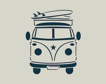 Volkswagen combi with surfboard stencil. Stencil combi (ref 647)
