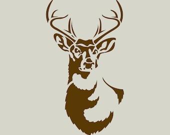 deer deer stencil deer drawing deer head ref 408 etsy