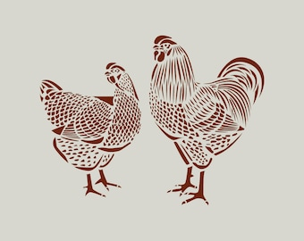 Stencil hen and Rooster (ref 247)