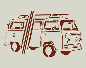 Volkswagen combi with surfboard stencil. Stencil combi (ref 86)