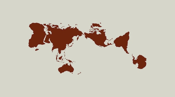 World map stencil. Planisphere Narukawa (ref 799)