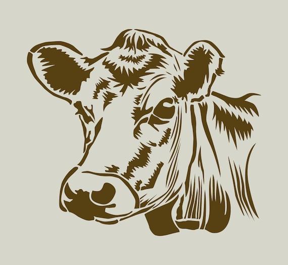 Kuh kuhkopf schablone im vinyl kleber ref 143 etsy - Dessin vache facile ...