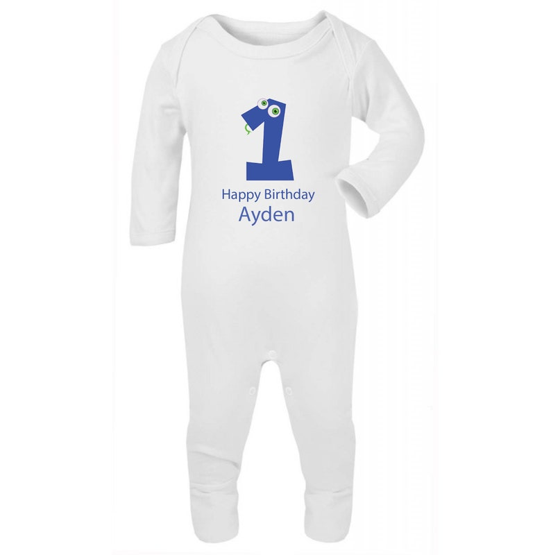 Happy 1st Birthday Boy Embroidered Baby Romper Babygrow Gift Personalised