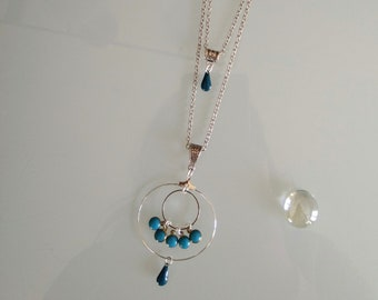 Original double necklace with drops and sequin enamelled blue