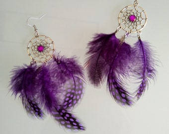 Earrings with purple rhinestone and feather Dreamcatcher dream catcher