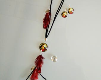 Set of necklace + earrings with tropical toucan bird glass cabochon