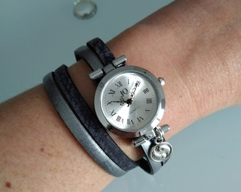 Watch bracelet, double rounds, black and charcoal grey leather aged, woman accessories, fashion accessories, personalized