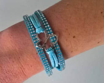 Suede turquoise Butterfly bracelet