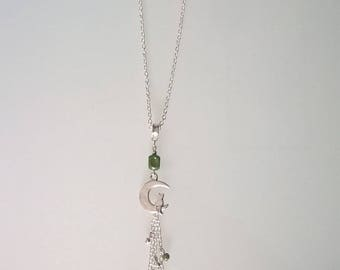 Pretty green cat on Moon necklace