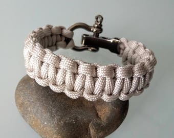 MEN, mens bracelet, Paracord grey survival bracelet light with Manila rope stainless steel, father's day, personalized