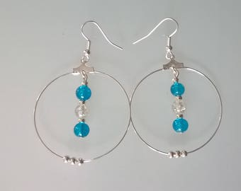 Creole earrings turquoise/white